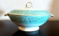 """Meito China Japan Wild Cherry 8"""" Covered Vegetable Serving Dish Aqua & Floral"""