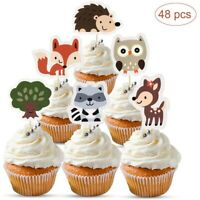 48Pcs Woodland Creatures Cupcake Toppers-Forest Animals Friends Cake Decor/*