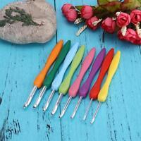 Crochet Hook Set Soft Grip Handles Knitting Needles Multi Colour Aluminum 8Pcs