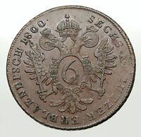 1800A AUSTRIA w Emperor Franz II Hapsburg Antique 6 Kreuzer Austrian Coin i84908