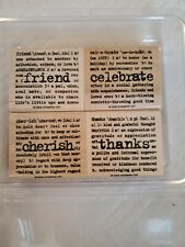 Stampin Up Lexicon Of Love Set Of 4 Wood Rubber Stamps Retired 2005