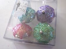 4 PINK GREEN BLUE PURPLE FINIAL SHATTER RESISTANT CHRISTMAS ORNAMENT DECORATION