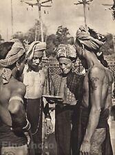 1940 BORNEO SEMI NUDE MALES Men Body Tattoo Omen Psychic Reading Photo K.F. WONG