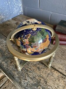 Vintage world globe brass stand semi precious gemstone lapis lazuli LARGE