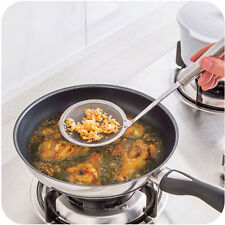 Kitchen Stainless Steel Mesh Hanging Oil Filter Strainer Basket Scoop Spoon New