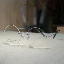 Steve Jobs round titanium eyeglasses frame rimless men silver circle RX eyewear