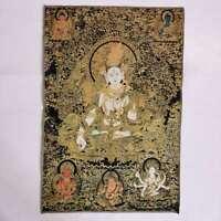 "36"" Tibet Tibetan Cloth Silk White Tara Goddess Guanyin Kwan-yin Tangka Thangka"