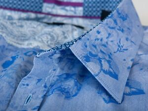 Ted Baker Pashion Blue Floral French Cuff Shirt 16.5 10231