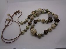 BEADED NECKLACE VENTURINE LEATHER CREAM BROWN PARTY PROM FESTIVAL