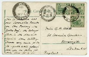 Malaya 1911 Picture Postcard to London with 3 x 1c Stamps