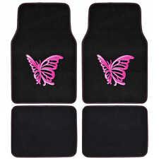 BDK Pink Butterfly Car Floor Mats Carpet Liners 4 Pieces Design Set Front & Rear