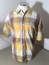 Evolution In Design Button Front Shirt Men's Yellow Plaid Size Large