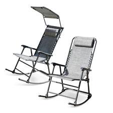 Foldable Zero Gravity Rocking Patio Lounge Recliner Outdoor Garden Chair Gray