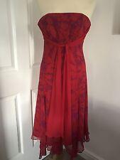 Striking Monsoon Red Silk Evening Dress With Purple Pattern, Size 8!