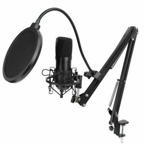 24Bit USB Streaming Podcast PC Microphone Studio Cardioid Condenser Mic Kit