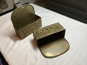 """Vintage Pair Of Brass Hanging Letter Holder, 5.25""""h X 5.75""""w X 2""""d"""