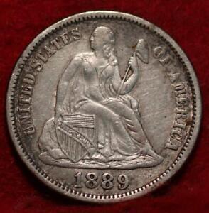 1889 Silver Philadelphia Mint Seated Liberty Dime
