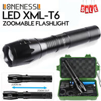 Zoom Flashlight Bright Torch USB CREE LED Rechargeable 18650 5 Modes