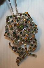 Stunning LG Green Burgundy Amber Stemmed Rose Silvertone Pendant Necklace Brooch