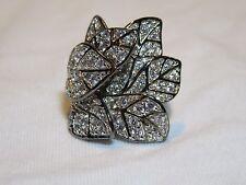 Soho Boutique Neda Behnam Sterling Silver Black Rhodium CZ Wide Bold Leaf Ring
