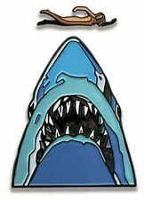 Jaws Movie Midnight Swim Shark Enamel Metal Pin Set of 2