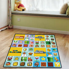 Cartoon Super Mario Logo Square Floor Rug Carpet Room Doormat Non-slip Chair Mat