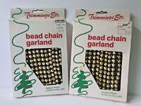 Vintage Bead Chain Garland Gold 15' 2 Pkgs Trimmings Etc. Hong Kong Original Pkg