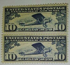 1928 Scott #C10 Lindbergh Spirit of St. Louis 10c Dual Airmail Stamps