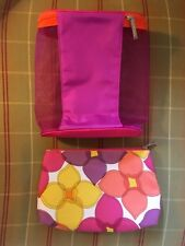 Lot Of 2 Clinique Cosmetic Multicolored Makeup Zippered bags