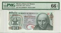 PMG Certified Mexico 1975 10 Pesos Banknote UNC 66 EPQ Gem Pick 63h US Seller