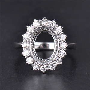 Oval 9x11mm Real Natural Diamond Halo Engagement Her Ring Setting 14K White Gold