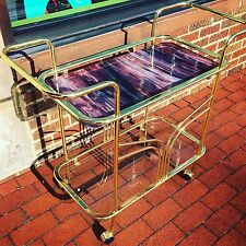 Vintage Hollywood Regency Brass and Stained Glass BAR CART