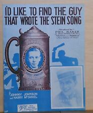 I'd Like to Find The Guy Who Wrote The Stein Song - 1930 sheet music, J. Flippen