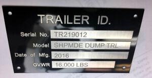 Engraved Premium  4 Line Aluminum Trailer ID Data Plate Tag VIN Plate Nameplate