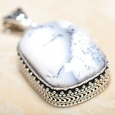 "Handmade Dendritic Tree Natural Agate 925 Sterling Silver Pendant 2"" #P13828"