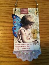 Original, OOAK mixed media Easter decoration hanging prayer card, cottage chic