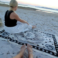 WHITE SUN & MOON PRINT INDIAN HIPPY WALL HANGING TWIN TAPESTRY THROW BEDSPREAD