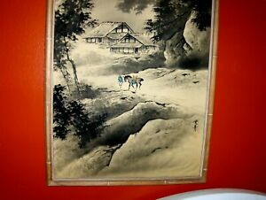 ANTIQUE Large Landscape Scroll Painting Mountain Traveler Man Horse Chinese VTG