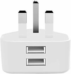 2.1A AMP Fast DUAL USB Charger UK Mains Wall Plug Adapter For ALL USB DEVICES