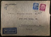 1940 Hamburg Germany Airmail Censored Cover To Hias Washington DC USA Judiaca