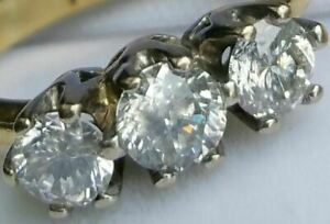 18Ct Gold 1.20Ct Superb Quality! Diamond Engagement Dress Trilogy Ring Size J