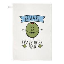 Fai attenzione Crazy Oliva uomo asciugamani Dish Cloth-Divertente Vegan Cibo Vegetariano