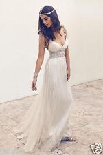 Beach Wedding Dress Chiffon Bridal Gown Plus Size 2-4-6-8-10-12-14-16+++ Custom