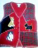 Womens Collect Dogs Scottie Red Black Plaid Christmas Sweater Vest Plus Sz 2XL