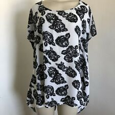 Torrid 3 2X Tunic Layer Top White Black Rose Print Semi Sheer Button Up Back