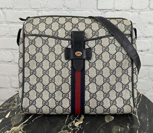 Gucci Vintage Blue Monogram GG Print Leather Web Striped Shoulder Side Sling Bag