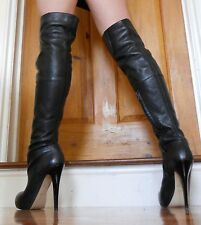 Topshop Barley 2 Real Leather High Heel Over Knee Thigh Boots UK 4 EU 37 US 6.5