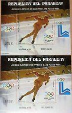 PARAGUAY 1980 Block 352 1956 A-B Winter Olympics Lake Placid Skiing Rings MNH