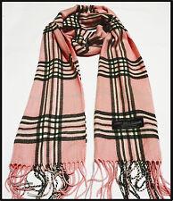 100% cashmere super soft unisex scarf neck warmer plaid design color pink