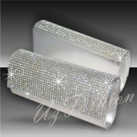 SILVER CRYSTAL DIAMANTE RHINESTONES LADIES PARTY EVENING CLUTCH BAG WOW